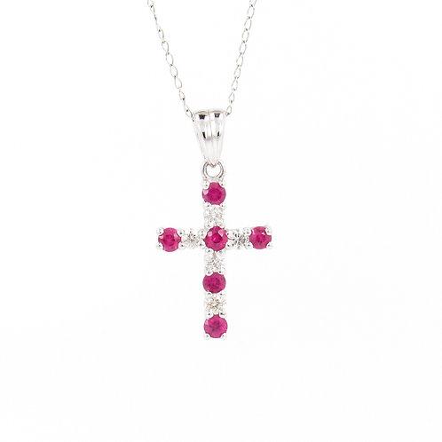 0.61ctw Diamonds & Rubies Cross Pendant Front