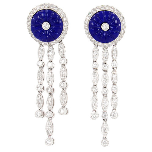 2.60 ctw Diamonds and Lapis Earrings Front