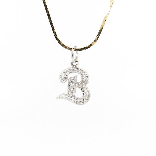 "0.12ctw Diamonds ""B"" Initial Gold Pendant Front"