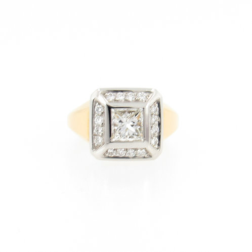 1.30ctw Princess Cut & Round Diamonds Two Tone Ring Front
