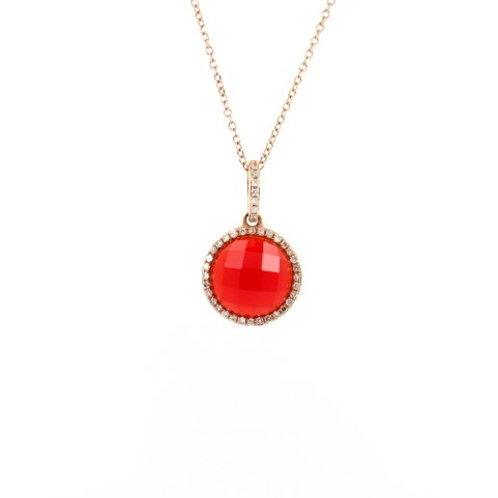 2.55ctw Orange-Red Agate & Diamonds Pendant Front