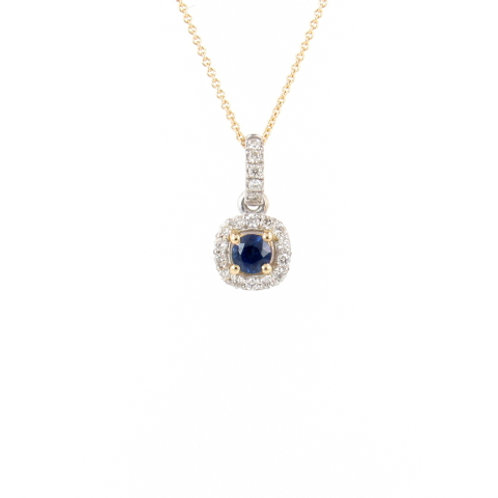 0.58ctw Unheated Blue Sapphire & Diamonds Halo Pendant