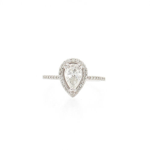 1.19ctw Pear Shape and Round Diamonds Halo Engagement Ring Front