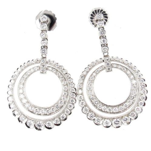 5.00ctw Diamonds Double Circle Earrings Front