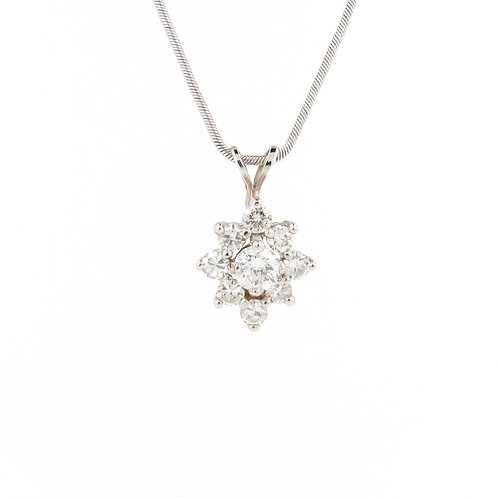1.10ctw Diamonds Gold Pendant Front