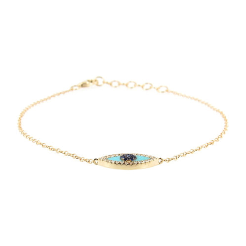 Protection Eye Gold Bracelet Front