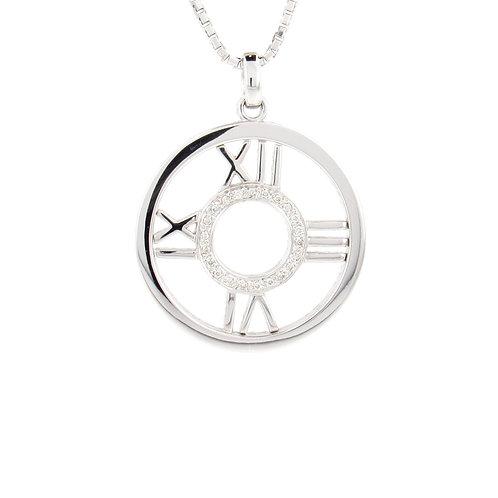 0.13ctw Diamonds Roman Numeral Clock Pendant Front
