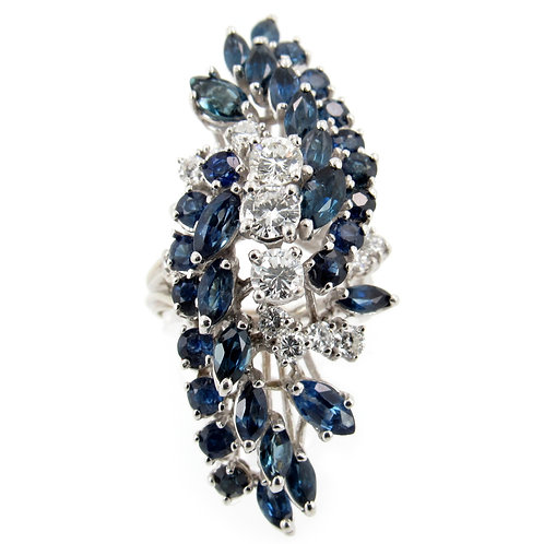 5.00 ctw Sapphire and Diamond Floral Ring Front