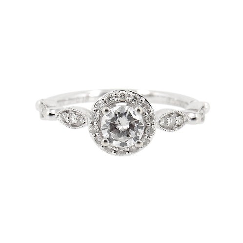 0.65 ctw Diamond Halo Engagement Ring Front