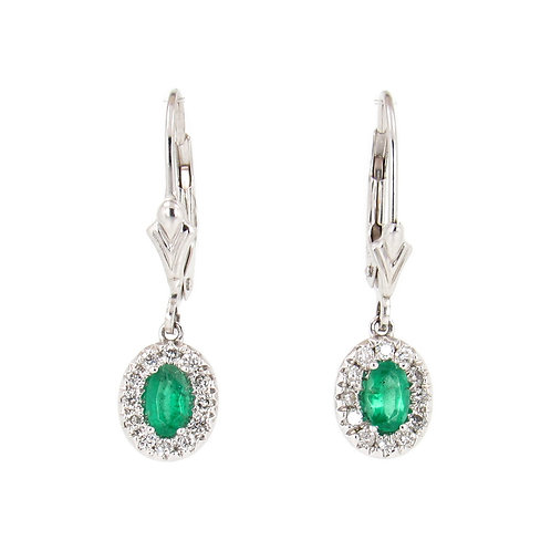 0.75 ctw Emeralds and Diamonds Earrings Front