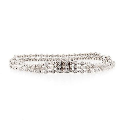 1.25ctw Diamonds 3 Rows Bubbles Design Bracelet  Front