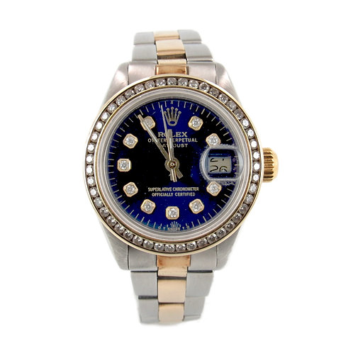 Rolex Ladies' DateJust Watch Navy Blue Dial and Diamond Bezel