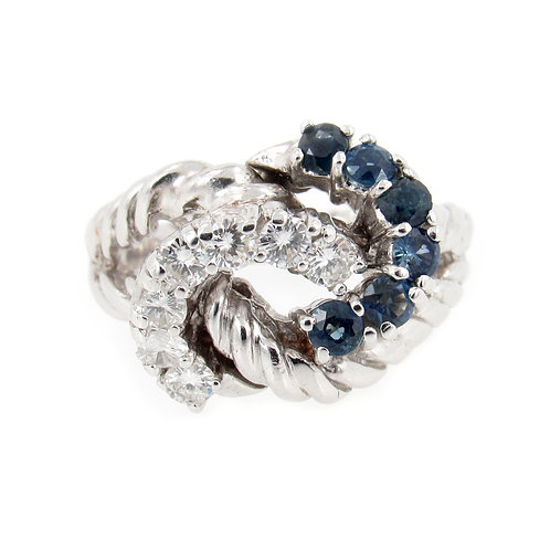 1.00 ctw Diamond and Sapphire Rope Knot Ring Front