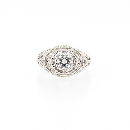 0.77 ctw Diamond Vintage Style Engagement Ring Front