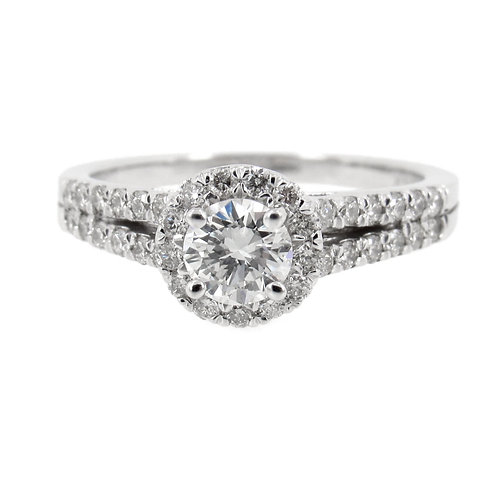 0.87 ctw Diamonds Double Shank Halo Engagement Ring Front