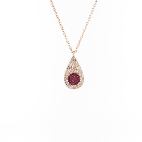 0.33ctw Rubies & Diamonds Rose Gold Pendant