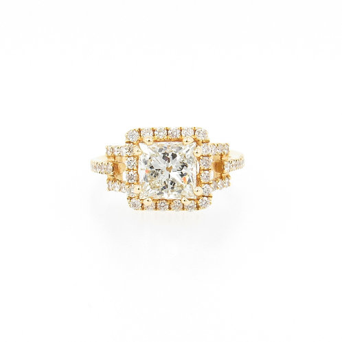 2.74ctw Princess Cut and Round Diamonds Eternal Halo Engagement Ring Front