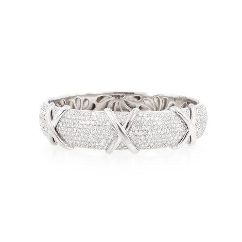 """7.20ctw Diamonds """"X"""" Design Pave Bracelet Front"""