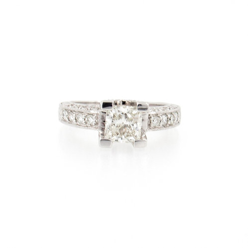 1.73ctw Princess Cut Engagement Ring Front