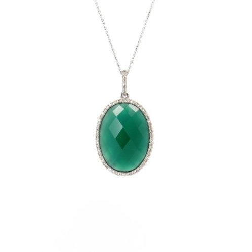 10.20ctw Green Agate & Diamonds Pendant