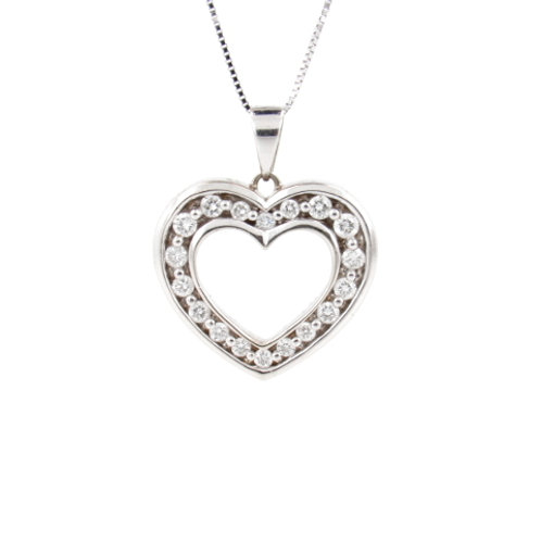 0.50ctw Diamonds Heart Pendant Front