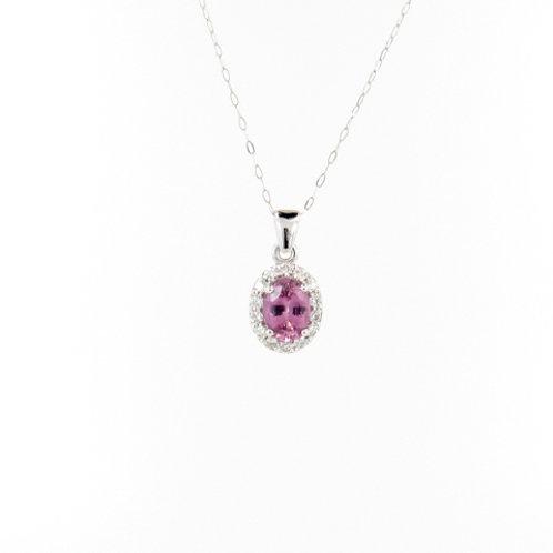 1.12ctw Unheated Pink Sapphire & Diamonds Pendant