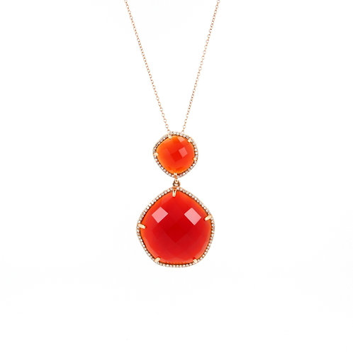 21.50ctw Orange-Red Agate & Diamonds Pendant