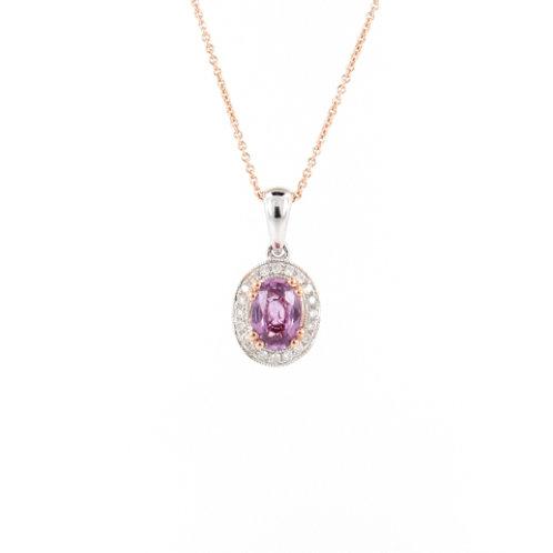0.93ctw Unheated Sapphire & Diamonds Halo Pendant