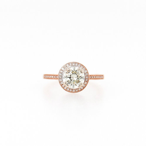 1.18 ctw Round Diamond Halo Rose Gold Engagement Ring Front