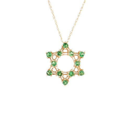 0.57ctw Tsavorite Star of David Pendant Front