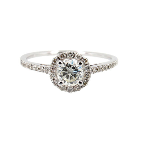 0.68 ctw Halo Engagement Ring Front