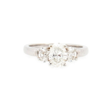 1.37ctw Oval Cut Diamond Trilogy Engagement Ring