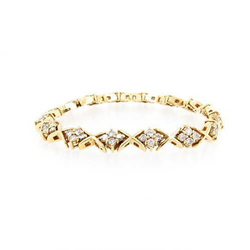 "3.20ctw Diamonds""X"" Design Bracelet Front"