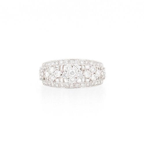0.95ctw Diamonds Flowers Ring Front