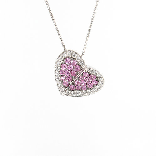 1.30ctw Pink Sapphires & Diamonds Twisted Heart Pendant
