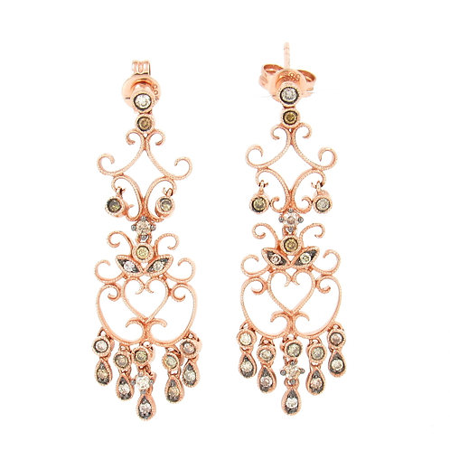 0.60ctw Mix Color Diamonds Rose Gold Earrings Front