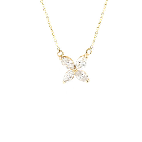 0.74ctw Diamonds Flower Necklace Front