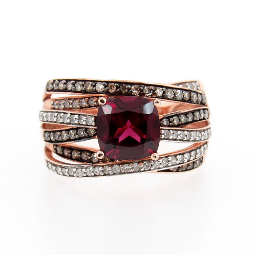 1.88ct Rhodolite Garnet & Diamond Ring Front