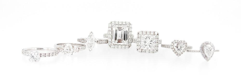 Different diamond cuts and diamond shapes. Diamond engagement rings by Trigon Diamonds.
