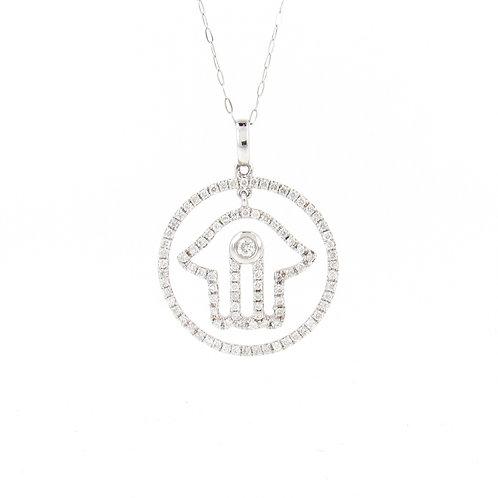 0.39ctw Diamonds Hamsa Pendant Front