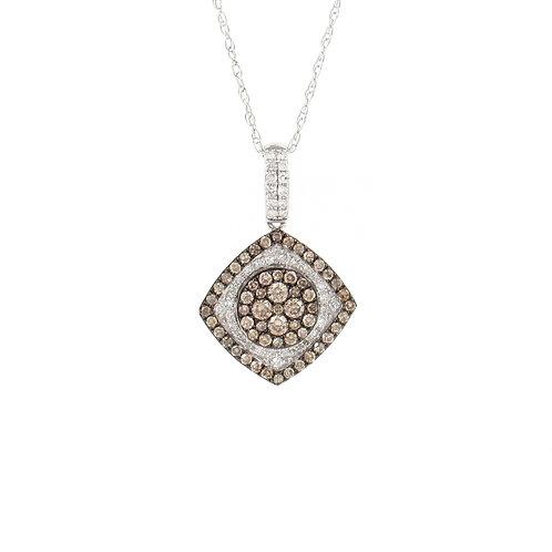0.51ctw White & Champagne Diamonds Pendant Front