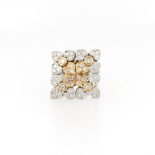 1.25ctw Diamonds 2 Tone Hearts Design Ring Front