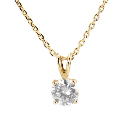 Solitaire 0.61 ct Round Brilliant Diamond Pendant Front