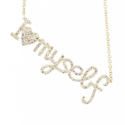0.36 ctw Diamond I Heart Myself Necklace Angle