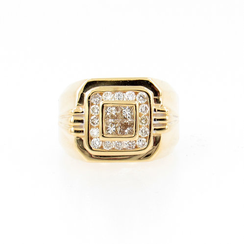 1.10ctw Round and Princess Cut Diamonds Men's Ring