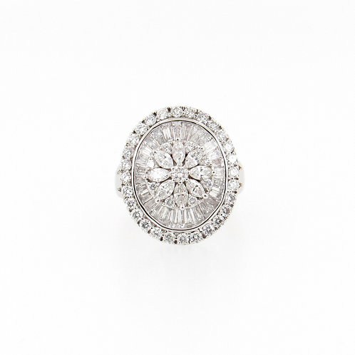 2.70ctw Diamonds Flower Cocktail Ring Front