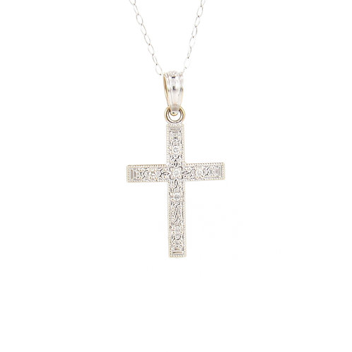0.05ctw Diamonds White Gold Cross Pendant Front