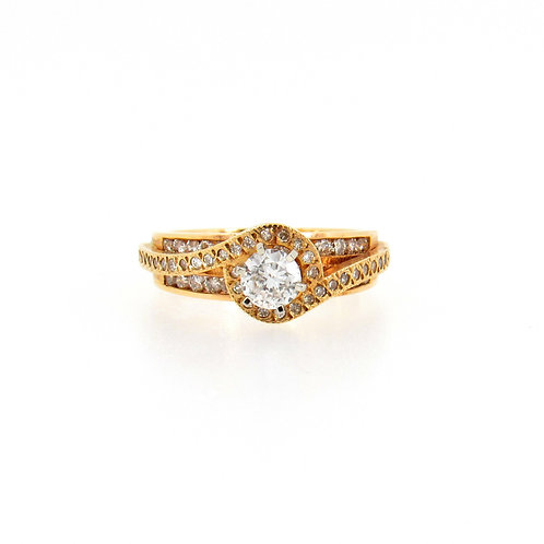 0.75 ctw Round Diamonds Bypass Halo Engagement Ring Front