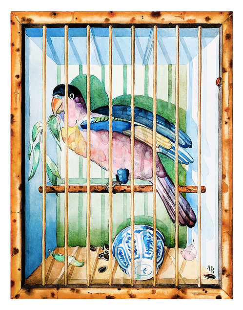 PARROT IN BAMBOO CAGE