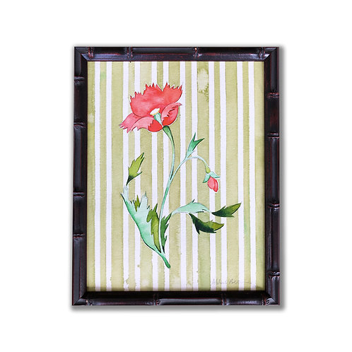 Original Painting of Indian Poppy with Green Stripes